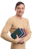 young student man with books