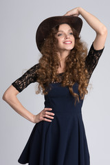 beautiful woman model with curly hair