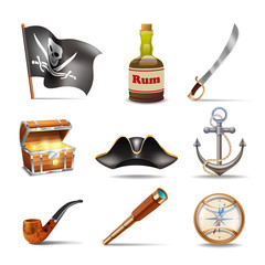 Pirate icons set colorful