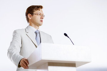 Speaker at stage