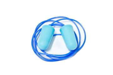 blue ear plugs on white background