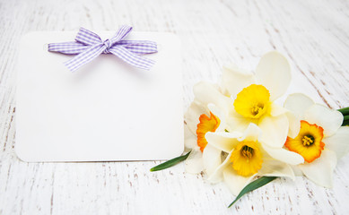 daffodil flowers with card