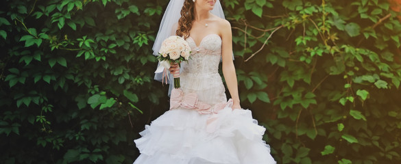 Wedding picture of happy bride.