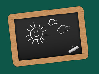 Chalkboard with wooden frame.