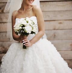 Wedding picture of happy bride.