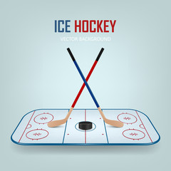 Ice hockey puck and crossed sticks on field.
