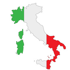 Map of Italy painted in national colors