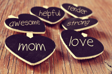 concepts referring to a good mom, such as love, helpful or tende