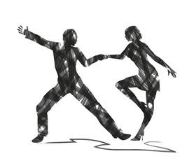 silhouette astratta di ballerini di liscio
