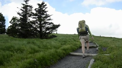 A female hiker turns left to pass behind two trees.