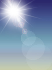 Sun with lens flare,  background.