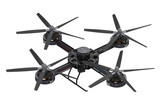 black quadcopter drone with camera poster