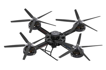 black quadcopter drone with camera
