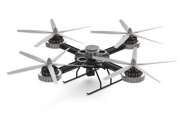black quadcopter multicopter with camera