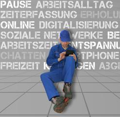 Arbeitspause mit Handy