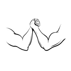 Arm Wrestling fight, vector illustration