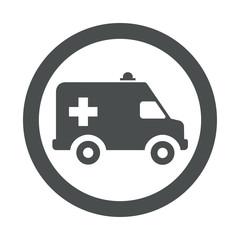 Icono redondo ambulancia gris