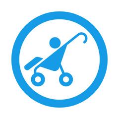 Icono redondo cochecito bebe azul