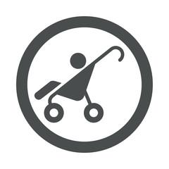 Icono redondo cochecito bebe gris