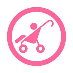 Icono redondo cochecito bebe rosa