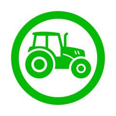 Icono redondo tractor verde