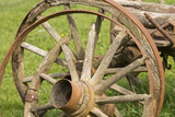 Old wooden wheel spokes