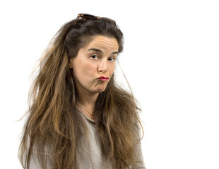 long hair girl with funny naughty expression
