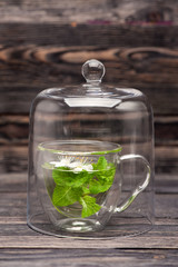Herbal tea with mint and flowers