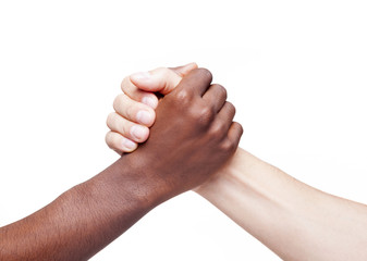 Handshake of friendship and respect, racism concept