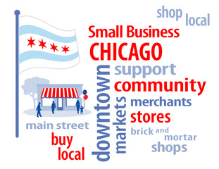 Chicago USA Flag, shop small business, stores, advertise, PR