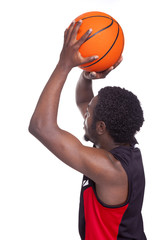Side view of a basketball player, isolated on white background
