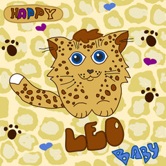 Little Baby Leopard child's drawing by hand on a seamless spotte