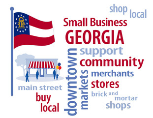 Georgia USA Flag, shop small business, stores, advertise, PR