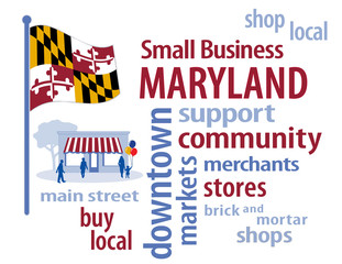 Maryland USA Flag, shop small business, stores, advertise, PR