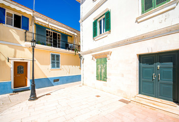 Street view with colorful old houses in Greece
