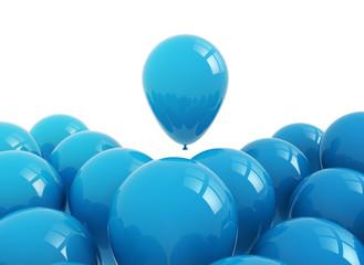 Celebration background blue balloons on white