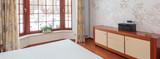 Bright bedroom with huge window