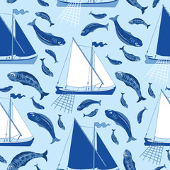 Seamless background with fishing boats and fish catch on blue