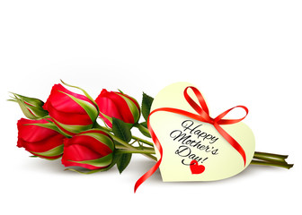 Three red roses with a heart-shaped Happy Mother's Day note and