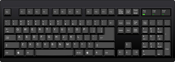 Black qwerty keyboard with US english layout