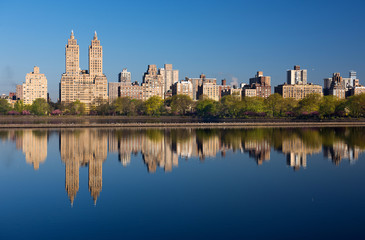 Morning reflections of the Central Park West skyline