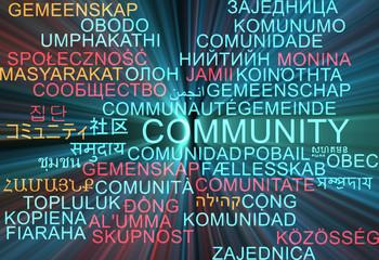 Community multilanguage wordcloud background concept glowing