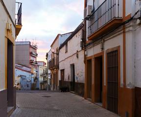 Old street at Merida in dawn