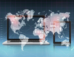Open the laptop and tablet standing next to a world map