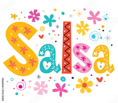 Obraz na Szkle salsa vector lettering decorative type