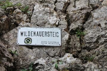 Plate on rock, Wildenauersteig, Hohe wand, Austria