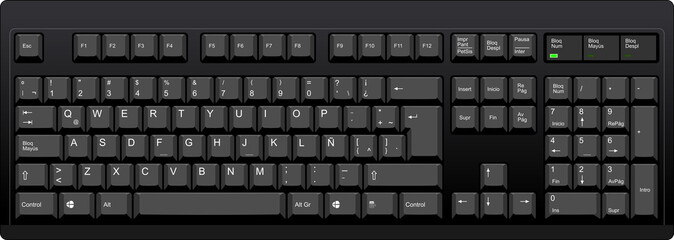 Black qwerty keyboard with latin american spanish layout