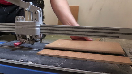 worker cut tile with professional cutter. Renovation work tool.