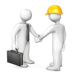 Geschäftsmann Bauarbeiter Handschlag