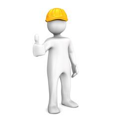 Männchen Bauarbeiter Orange Helm